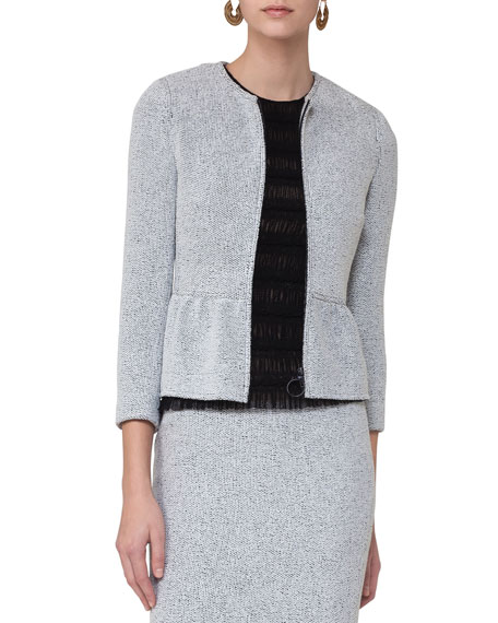Akris punto Knitted Tweed Zip-Front Jacket, Multi Pattern