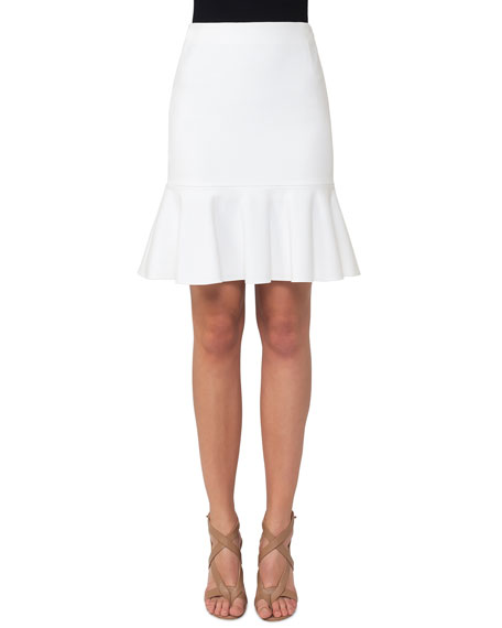 Akris punto Fluted Jersey Fit-and-Flare Skirt, Cream