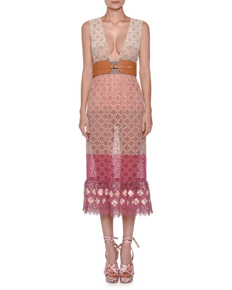 Agnona Sleeveless Colorblock Lace Midi Dress, Pink