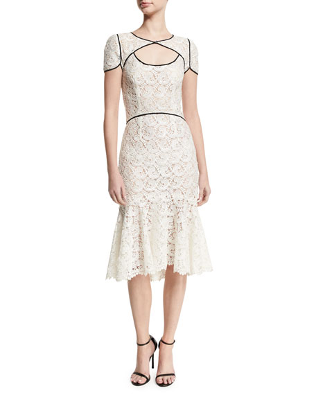 Monique Lhuillier Guipure Lace Keyhole Flounce Dress, White/Black