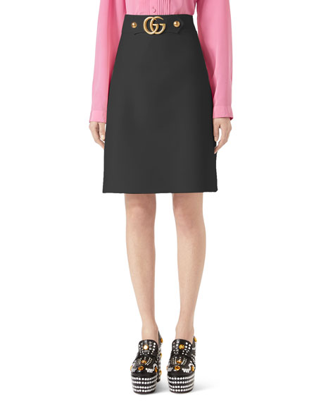 Gucci A-Line Wool-Silk Skirt w/ GG Hardware