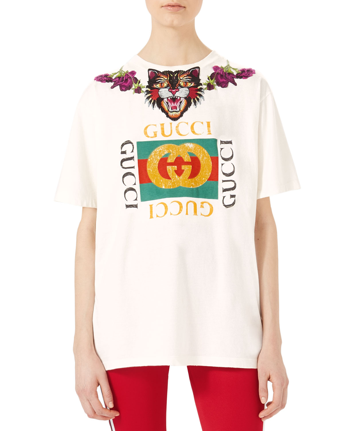 832f937a040 Gucci Embroidered Cotton T-Shirt | Neiman Marcus