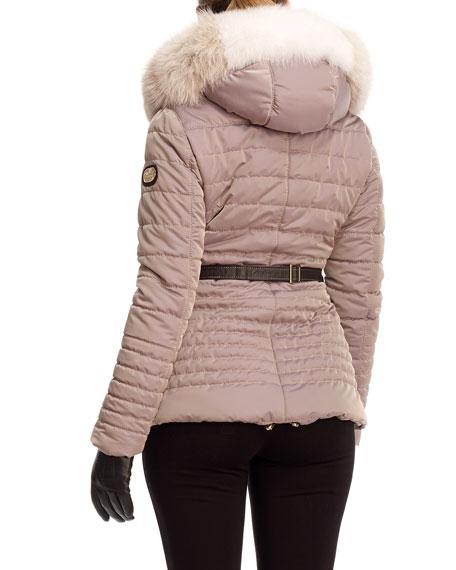 Apres-Ski Leopard-Jacquard Fur-Trim Jacket