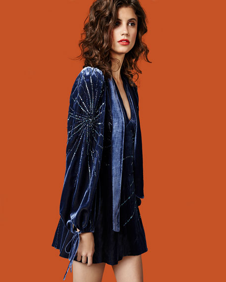 Sequined Velvet Bell-Sleeve Dress, Navy