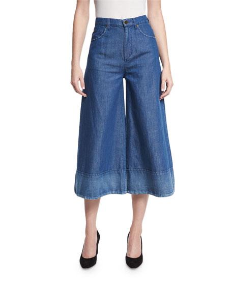 Denim Wide-Leg Cropped Pants, Blue