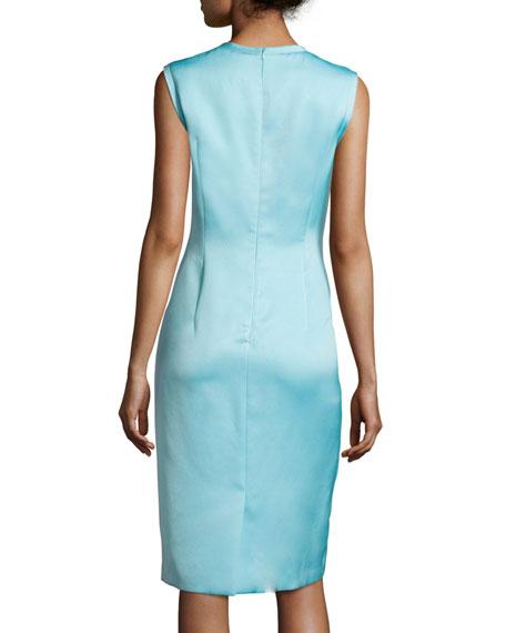 Sleeveless Raw-Edge Sheath Dress