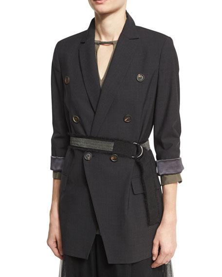 Double-Breasted Long Blazer Jacket with Monili Belt, Onyx