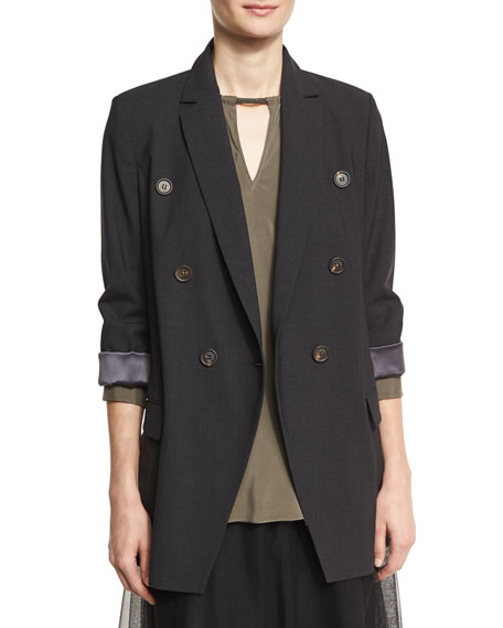 Brunello Cucinelli Double-Breasted Long Blazer Jacket with Monili