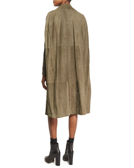Long Suede Double-Breasted Cape Vest, Green
