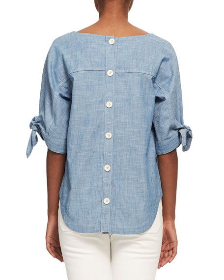 Chambray Tie-Sleeve Blouse, Light Blue