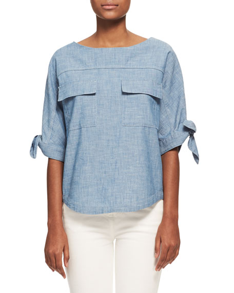 Chloe Chambray Tie-Sleeve Blouse, Light Blue