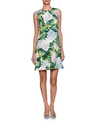 Hydrangea Sleeveless Brocade Minidress, Green