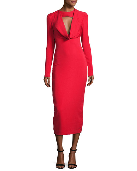 Cushnie Et Ochs Stretch-Crepe Cowl-Neck Midi Dress