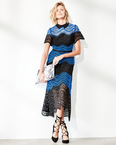Wavy Striped Lace Midi Shirtdress, Black/Blue