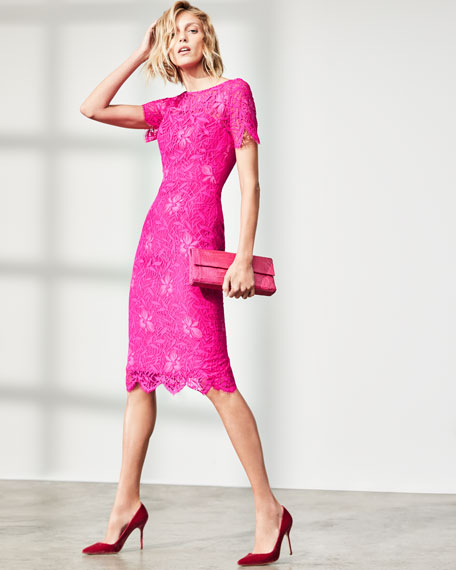 Image 2 of 3: Lela Rose Floral Lace Short-Sleeve Sheath Dress, Fuchsia