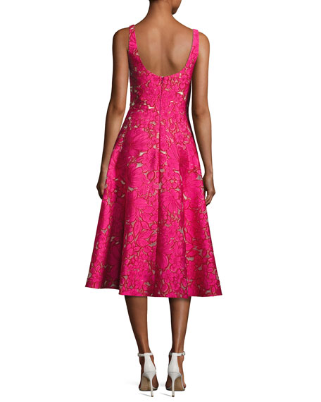 Floral Fil Coupé Sleeveless A-Line Dress, Fuchsia