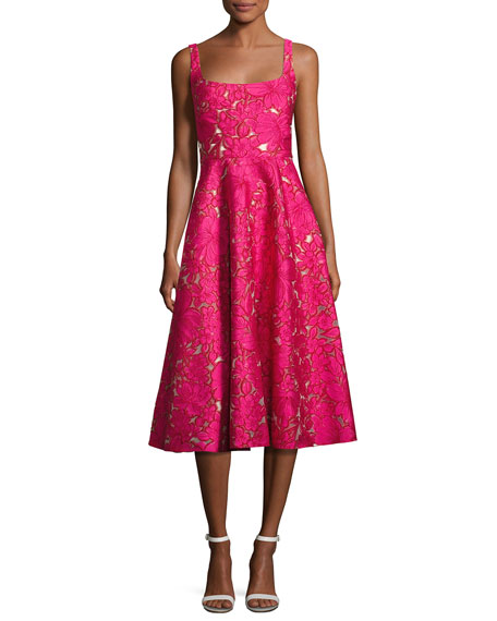 Lela Rose Floral Fil Coupé Sleeveless A-Line Dress,