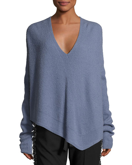 Derek Lam Asymmetric Ribbed Cashmere-Blend Sweater and Matching