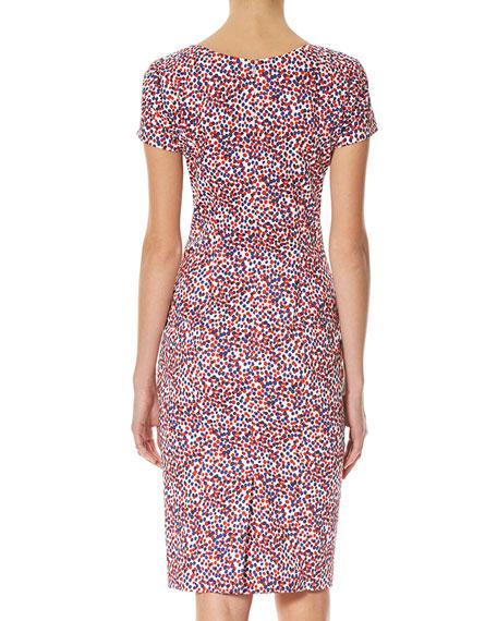 Polka-Dot Short-Sleeve Sheath Dress, Multicolor
