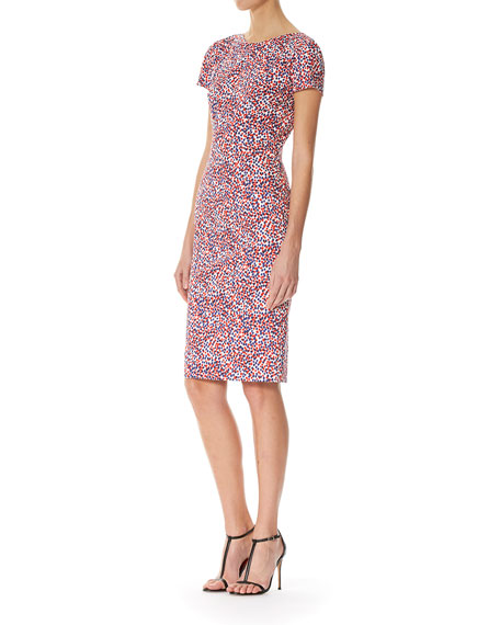 Polka-Dot Short-Sleeve Sheath Dress, Multicolor