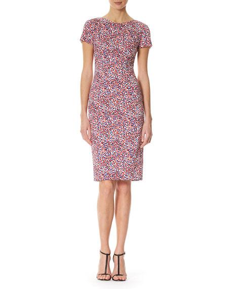 Carolina Herrera Polka-Dot Short-Sleeve Sheath Dress, Multicolor
