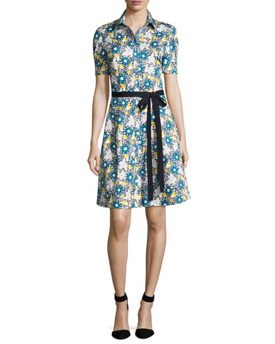 Daisy-Print Short-Sleeve Shirtdress