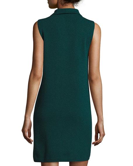 Sleeveless Knit Quarter-Zip Dress, Forest