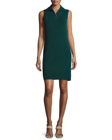 Akris Sleeveless Knit Quarter-Zip Dress, Forest
