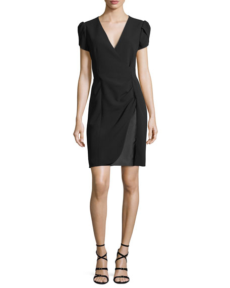 Giorgio Armani Puff-Sleeve Ruched Dress