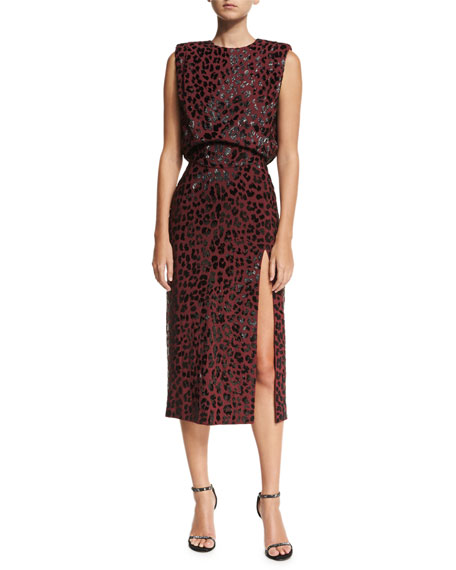 Michael Kors Collection Embellished Leopard Sheath Dress, Dark