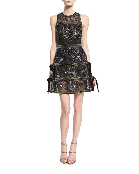 Embellished Cocktail Dress with Velvet Ties, Black/Gold
