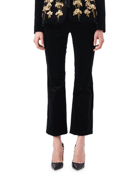 Altuzarra Serge Velvet Flat-Front Classic Pants, Black