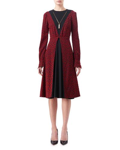 Taddea Flocked Long-Sleeve Midi Dress, Red