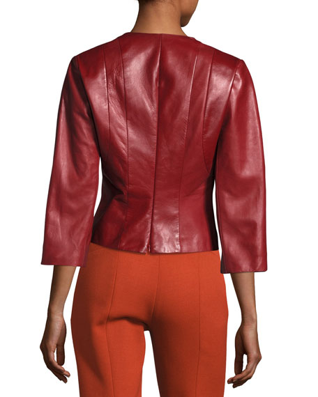 Plonge Leather Split-Neck Top, Red