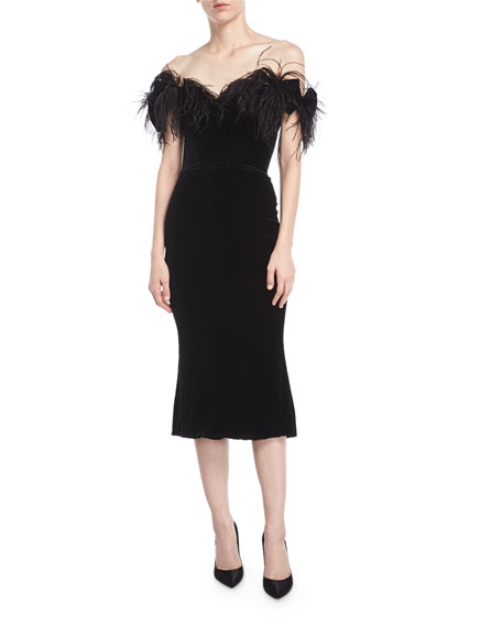 Off-the-Shoulder Velvet Cocktail Dress with Ostrich Feathers, Black