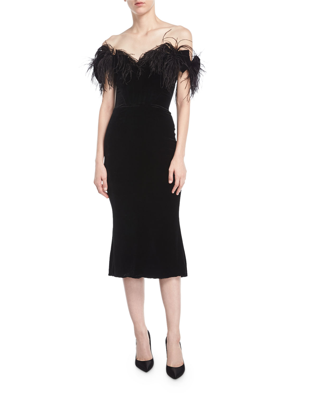 45345a10 Marchesa Off-the-Shoulder Velvet Cocktail Dress with Ostrich Feathers