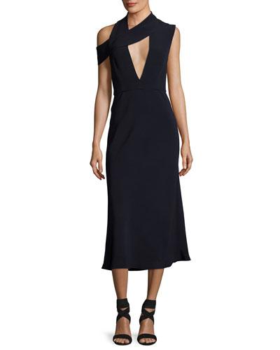 Cecelia Cutout Cold-Shoulder Midi Cocktail Dress