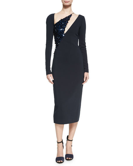 Cushnie Et Ochs Larissa Long-Sleeve Sequined-Panel Dress, Navy