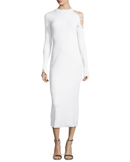 Cushnie Et Ochs Gabriela Mock-Neck Lace-Up Dress with