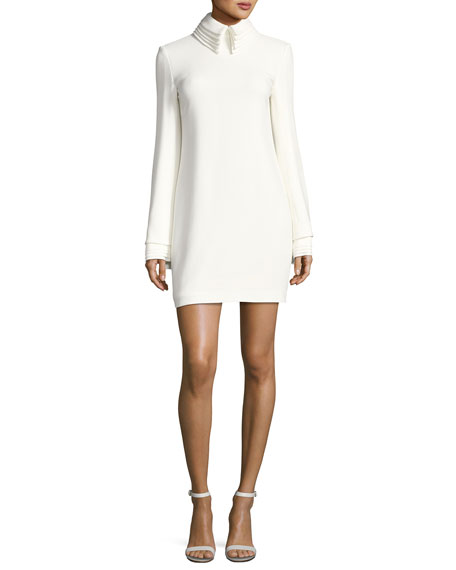 Brandon Maxwell Crepe Minidress with Petal Collar &