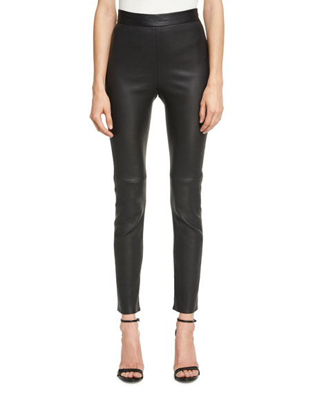 Brandon Maxwell Leather Cigarette Pants, Black