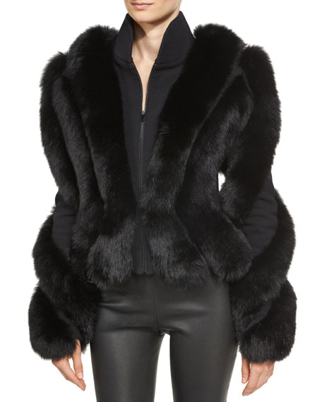 Brandon Maxwell Spiral-Sleeve Fox Fur Jacket, Black