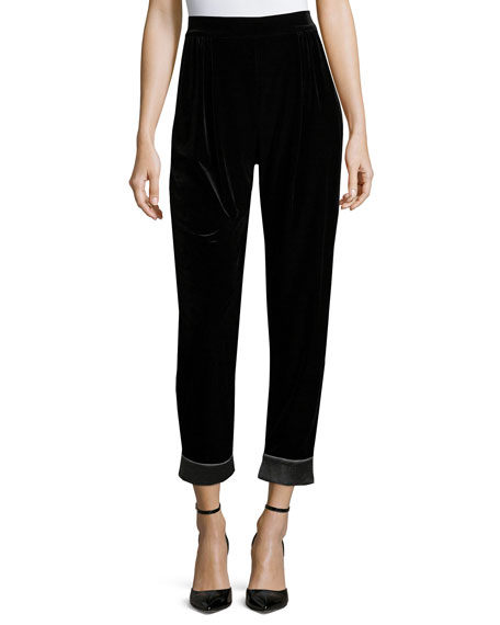 Velvet Cuffed Fashion Pants, Black