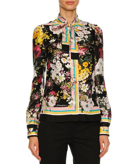 Dolce & Gabbana Floral Bouquet Silk Twill Tie-Neck
