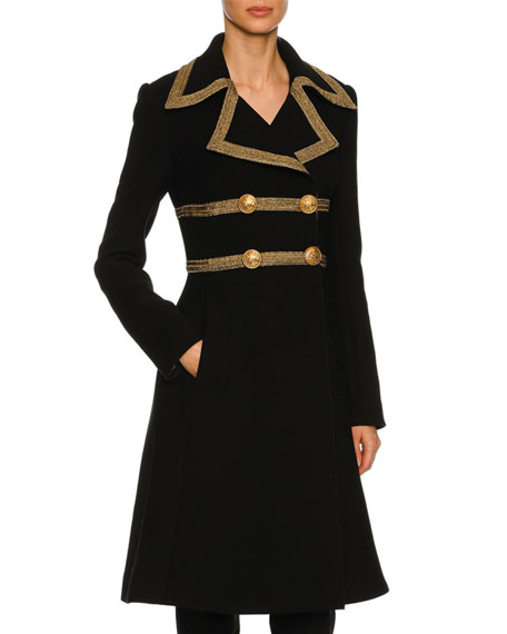 Metallic-Trim Wool-Crepe Coat, Black