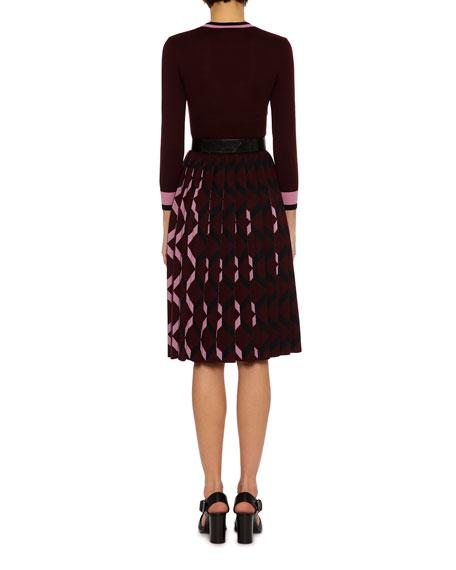 3/4-Sleeve Pleated-Skirt Wool V-Neck Dress, Multicolor