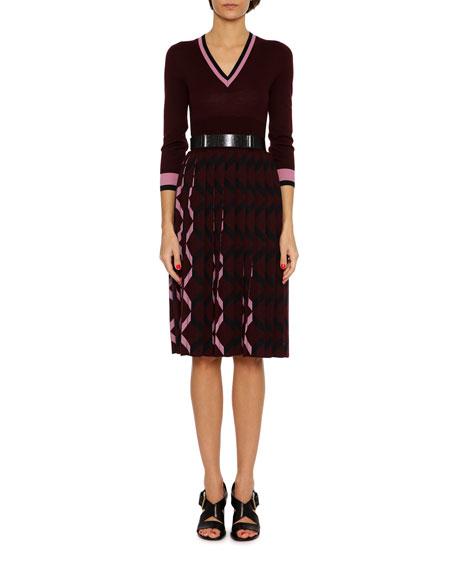 Bottega Veneta 3/4-Sleeve Pleated-Skirt Wool V-Neck Dress,