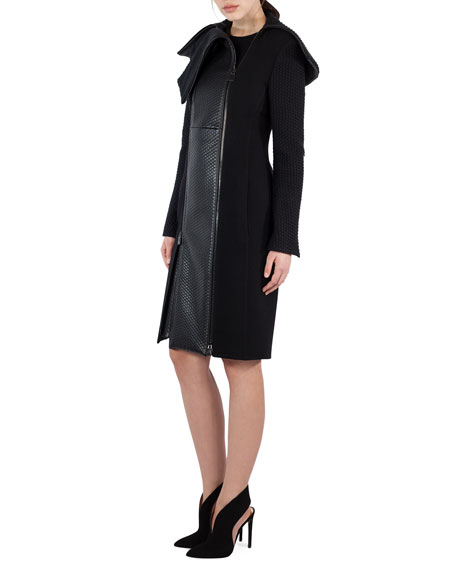Akris Textured Wool & Lamb Leather Coat, Black