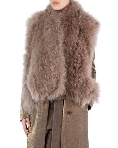 Alpaca Fur A-Line Gilet, Camel