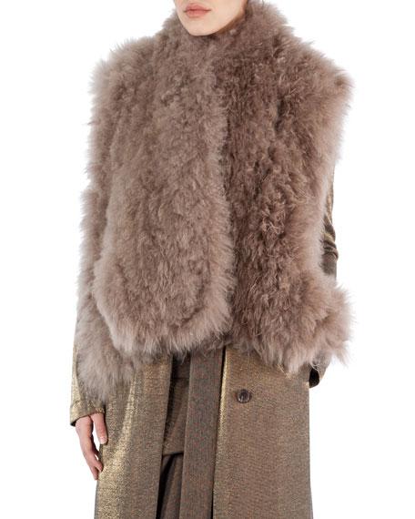 Akris Alpaca Fur A-Line Gilet, Camel